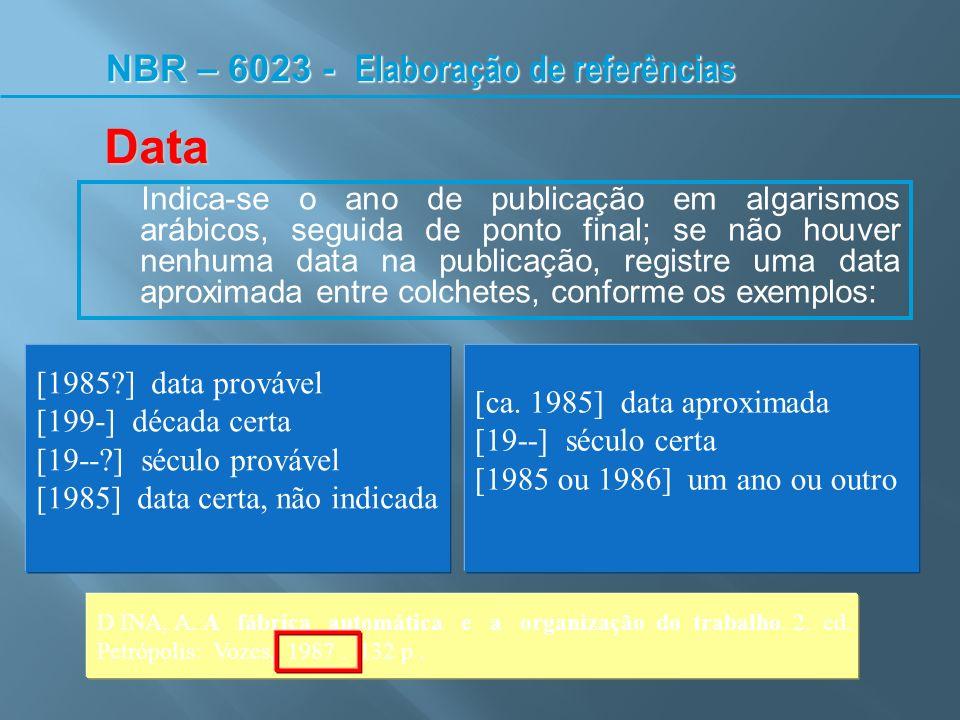 Data NBR – 6023 - Elaboração de referências [1985 ] data provável